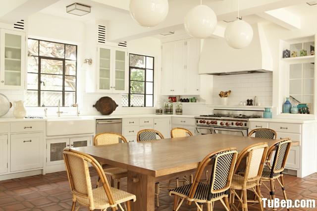 3ab9a0e394 Tủ bếp gỗ tự nhiên Sồi sơn men kết hợp bàn đảo – TVB371
