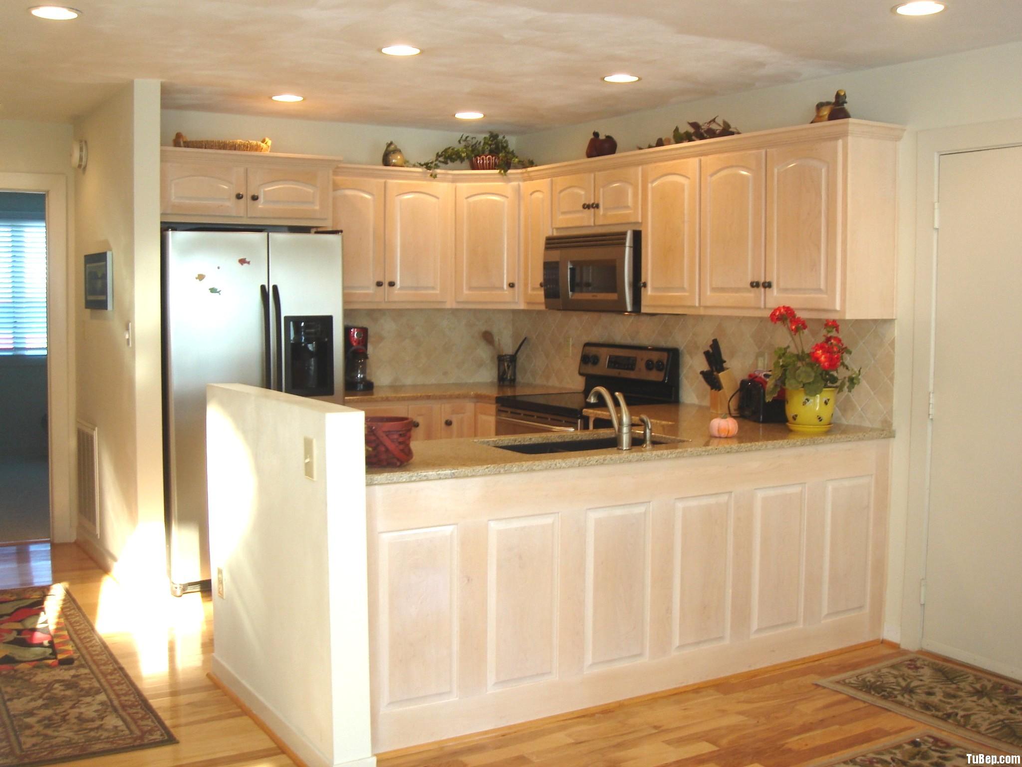 407ecd68ce Tủ bếp gỗ xoan đào sơn men trắng chữ U TVT0387