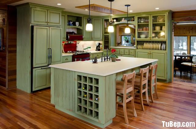 37ade0fc88 Tủ bếp gỗ tự nhiên sơn men trắng + bàn đảo – TVB585