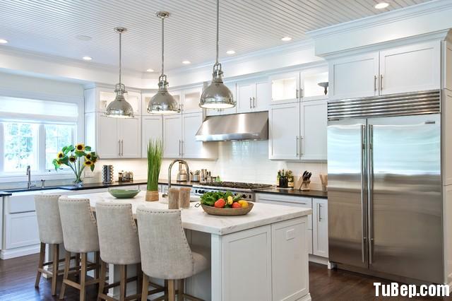 504622b2e4 Tủ bếp gỗ tự nhiên sơn men trắng + bàn đảo – TVB636