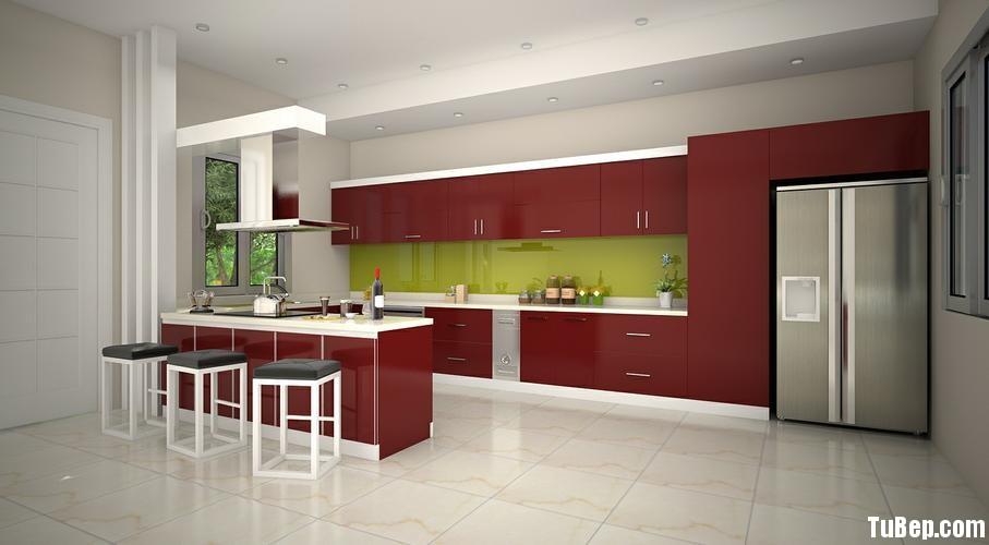 722d4ac5f5ay bar.jpg Tủ bếp gỗ Acrylic màu đỏ có đảo TVT0721