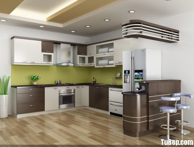 Tủ bếp Laminate màu trắng kết hợp vân gỗ chữ L có quầy bar TVT0742