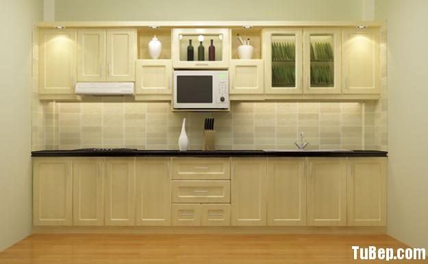 a6560b3e31 Tủ bếp gỗ Sồi tự nhiên sơn men màu trắng kem chữ I TVT0700