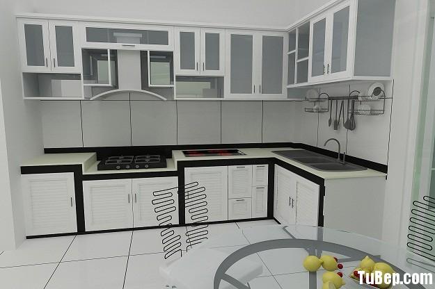 Tủ bếp gỗ Xoan đào sơn men trắng chữ L TVT0757