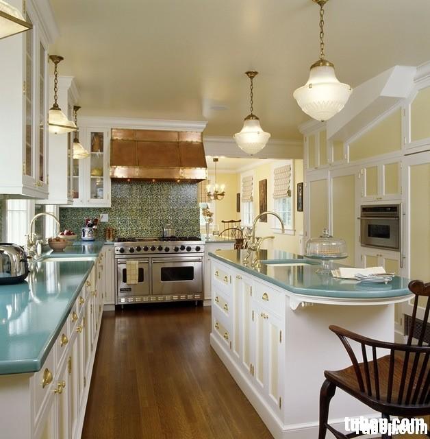 dadf42a000235605.jpg Tủ bếp gỗ tự nhiên sơn men trắng chữ L có đảo TVT0784