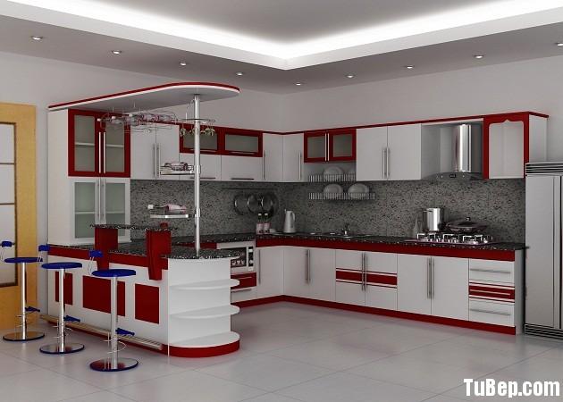 a7e231dd68U dep.jpg Tủ bếp gỗ Laminate chữ L màu đỏ phối trắng TVT0686