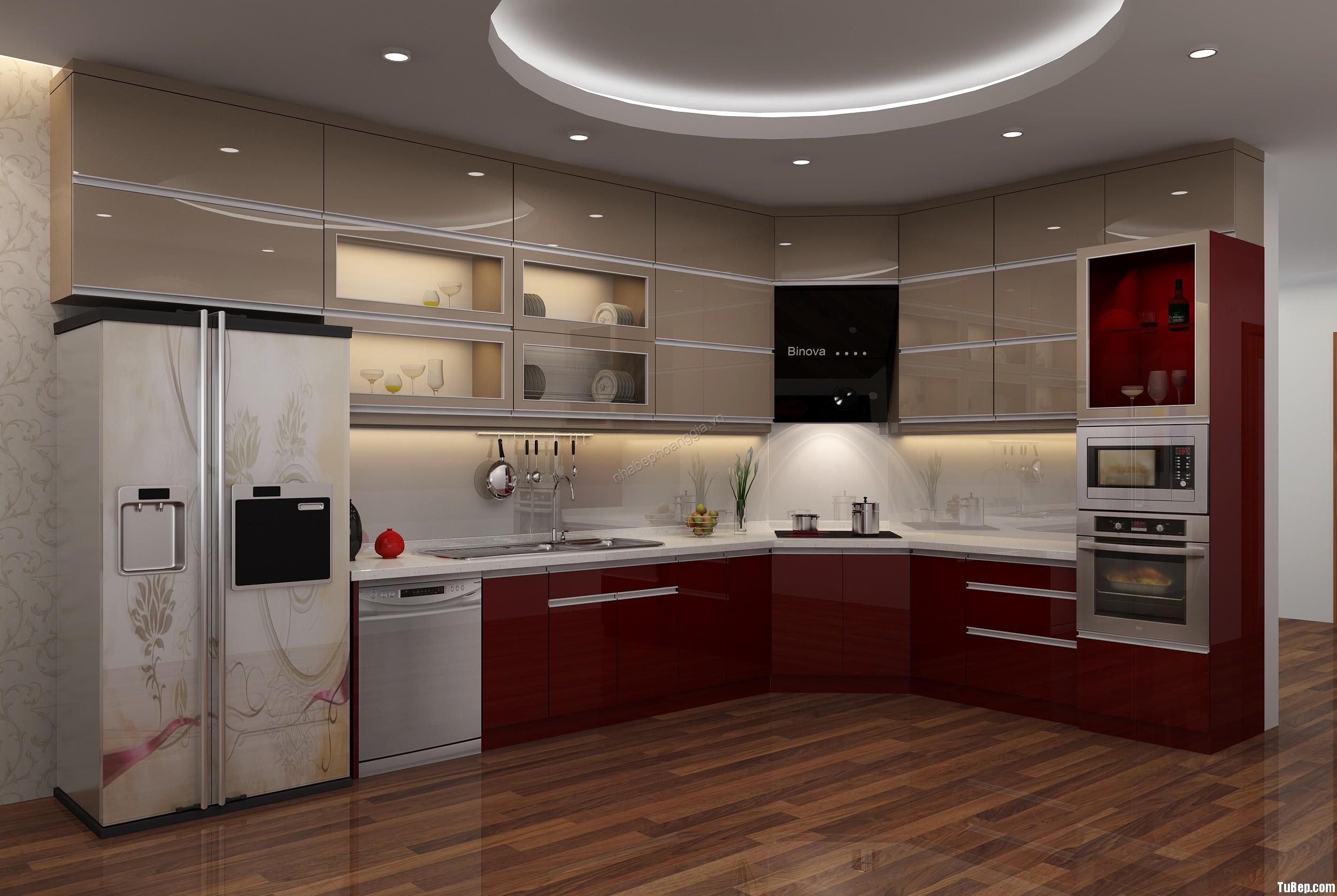 926d675edb509428.jpg Tủ bếp gỗ Acrylic chữ L màu đỏ phối nâu TVT0806