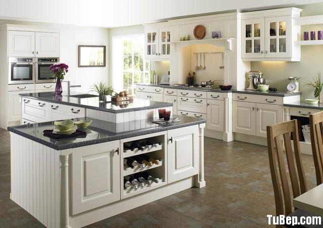 6825de9db9 Tủ bếp gỗ Sồi sơn men trắng chữ I có đảo – TVB0825