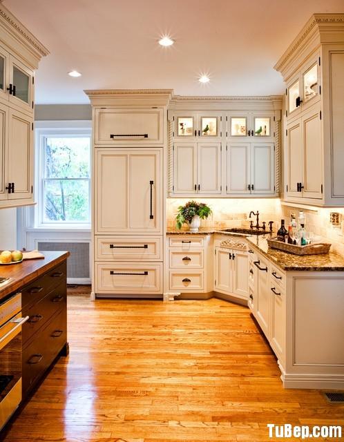 0731f32bd4 Tủ bếp gỗ tự nhiên sơn men trắng chữ L có bàn đảo – TVB0894