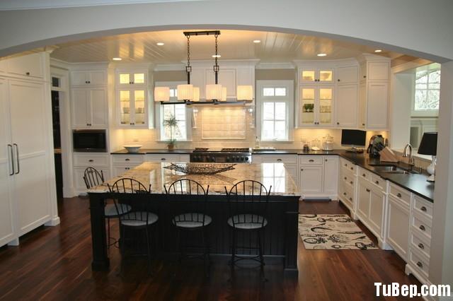 aee6b7b42b Tủ bếp gỗ Sồi sơn men trắng chữ L, có bàn đảo – TVB1137