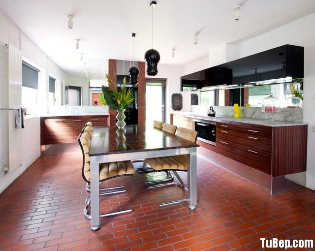 54a5789e60minate.jpg Tủ bếp gỗ Acrylic đen phối Laminate vân gỗ hình chữ I, có bàn đảo – TVB 1212