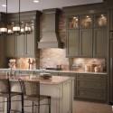 Tủ bếp gỗ tự nhiên chữ I kết hợp bàn đảo – TVB685