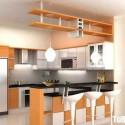 Tủ bếp gỗ Laminate chữ L màu trắng phối vân gỗ   TVB 1192
