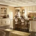Tủ bếp gỗ tự nhiên sơn men trắng chữ L có đảo   TVB781
