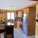 tủ bếp gỗ Tần bì tự nhiên có bàn đảo  TVB 1049