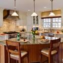 Tủ bếp gỗ Sồi sơn men, bàn đảo sơn PU   TVB0533