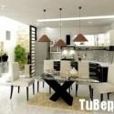 Tủ bếp gỗ Laminate chữ L màu trắng phối đen   TVB 1257