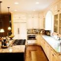 Tủ bếp gỗ Sồi tự nhiên hình chữ L sơn men trắng phối đen TB1176