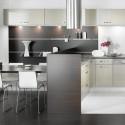 Tủ bếp gỗ Laminate chữ L màu kem phối xám   TVB0936