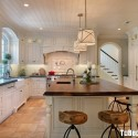 Tủ bếp gỗ Sồi Mỹ sơn men trắng chữ L có bàn đảo   TVB 1216