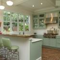 Tủ bếp gỗ tự nhiên sơn men màu xanh nhạt chữ L có bar   TVB783