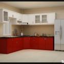 Tủ bếp gỗ Acrylic chữ L màu sắc trẻ trung – TVB683