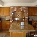 Tủ bếp gỗ Tần Bì (Ash) tự nhiên chữ U có đảo   TVB0856