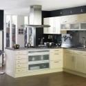Tủ bếp gỗ Laminate màu trắng kem chữ L   TVB670