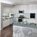 Tủ bếp gỗ Acrylic trắng có đảo   TVB832