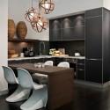 Tủ bếp gỗ Laminate hình chữ L màu đen phối vân gỗ   TVB1133