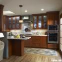 Tủ bếp gỗ xoan đào – TVB386