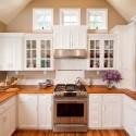 Tủ bếp gỗ tự nhiên Tần bì sơn men trắng, chữ U   TVB 1102
