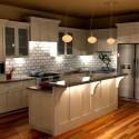 Tủ bếp gỗ tự nhiên Sồi Mỹ sơn men trắng kết hợp bàn bar – TVB413