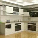 Tủ bếp gỗ Acrylic chữ L màu trắng phối xám   TVB1131