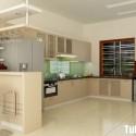 Tủ bếp gỗ Laminate chữ L màu trắng phối kem  TVB1079