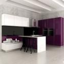 Tủ bếp gỗ Acrylic có bán đảo   TVB 1046