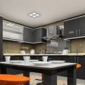 Tủ bếp Acrylic màu ghi xám, chữ L có bàn đảo   TVB 1146
