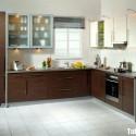 Tủ bếp Laminate màu vân gỗ chữ L   TVB 1227