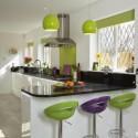 Tủ bếp gỗ Acrylic chữ L, có bar   TVB 1241