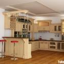 Tủ bếp gỗ tự nhiên Sồi sơn men kết hợp bàn bar – TVB489