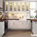 Tủ bếp gỗ tự nhiên sơn men trắng chữ U   TVB1022
