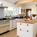 Tủ bếp gỗ Sồi sơn men trắng chữ I có bàn đảo   TVB1018
