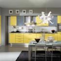 Tủ bếp Laminate  màu vàng chanh, chữ I có bàn đảo   TVB 1106