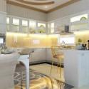 Tủ bếp gỗ Sồi tự nhiên sơn men trắng chữ U   TVB0872