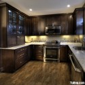 Tủ bếp gỗ Dổi, chữ U   TVB 1084