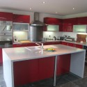 Tủ bếp Acrylic màu đỏ chữ L có đảo   TVB0858
