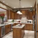 Tủ bếp gỗ tự nhiên Xoan đào kết hợp bàn đảo – TVB428