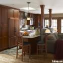 Tủ bếp gỗ tự nhiên Căm Xe có bàn Bar – TVB300