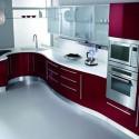 Tủ bếp Acrylic màu hồng chữ L   TVB678