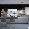 Tủ bếp gỗ Acrylic màu trắng phối vân gỗ chữ L   TVB1038
